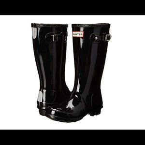 NWOB Hunter Black Gloss Tall Rain Boots Kids Sz 34